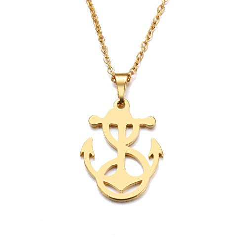 PCDHF Stainless Steel Necklace for Women Man Lover's Winding Anchor Gold and Silver Color Pendant Engagement Jewelry (Anchor Polished Gold)