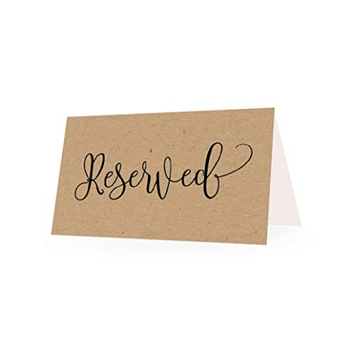 25 Rustic VIP Reserved Sign Tent Place Cards for Table at Restaurant, Wedding Reception, Church, Business Office Board Meeting, Holiday Christmas Party, Kraft Printed Seating Reservation Accessories