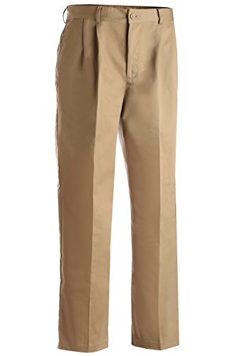 Edwards Garment Men's Pleated Front Chino Utility Pant, TAN, 34 28