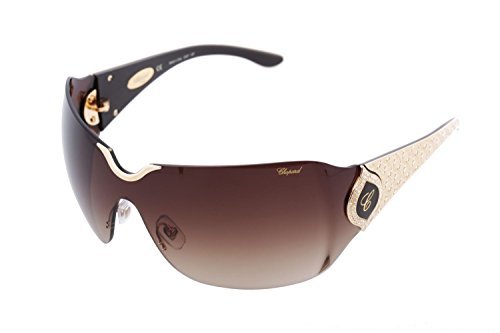 Chopard SCH 883 300 Women Rimless Wrap-Around Shield Brown & 23 KT Gold Plated Luxury Eyewear - Sunglasses Shield Womens Rimless