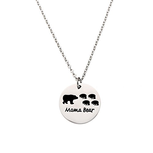 Mama 1 Pendant (Yolanda Sweet Family Mama Bear Necklace Stainless Steel Bear Cubs Pendant Gift for Mother (Four Bear Cubs))