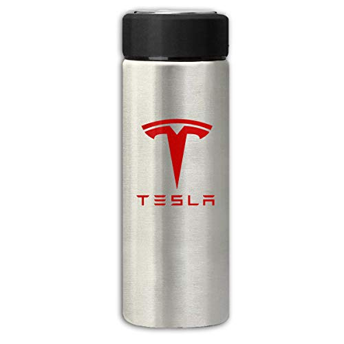 Runxin Vacuum Insulated Stainless Steel Thermos Flask Tesla Auto Logo Frosted Fashion Travel Tumbler for Hot/Cold Drink Coffee Or Tea Gray