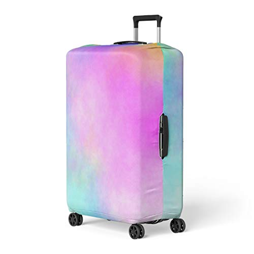 Pinbeam Luggage Cover Pink Rainbow Watercolor Stained Colorful Abstract Blue Bright Travel Suitcase Cover Protector Baggage Case Fits 22-24 inches