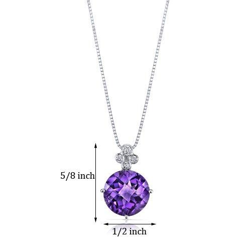 Revoni 14ct or blanc 585/1000 ronde damier Coupe 3.50 carats Améthyste Pendentif diamant