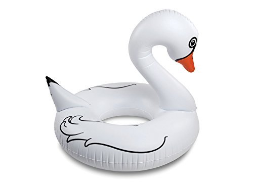 BigMouth Inc Giant White Swan Pool Float, 4-foot Wide Funny Inflatable Vinyl Summer Pool or Beach Toy, Patch Kit Included