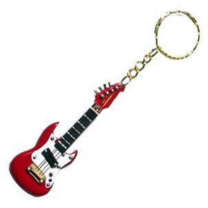 Amazon Com Red Electric Guitar Keychain Office Products