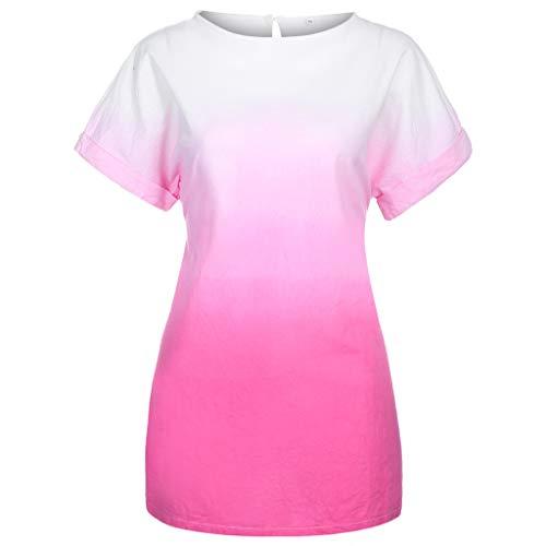 T Shirt Dresses Summer Casual Short Sleeve Swing Dress Fashion Plus Size V-Neck Easy Print Dye Gradient Dress Women (XL,8- -