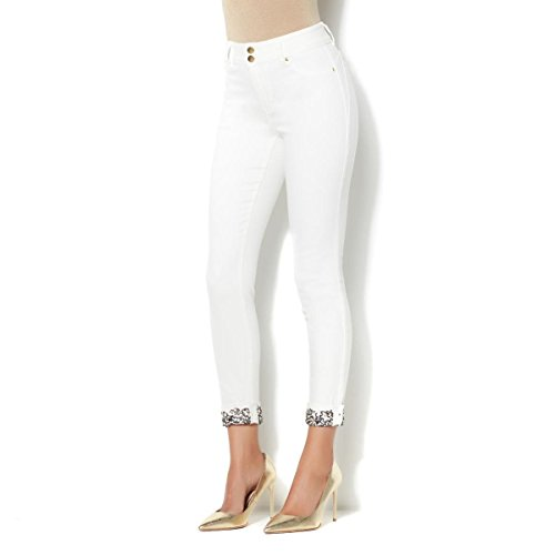 IMAN Runway Chic Curve Appeal Jeweled-Cuff Jean Almost White 2 AVG New (Jeweled Womens Jeans)