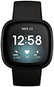 Fitbit Versa 3 Health & Fitness Smartwatch with GPS, 24/7 Heart Rate, Alexa Built-in, 6+ Days Battery, Bla