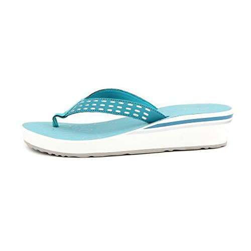 Clarks Liya Bevin Womens Size 9 Blue Faux Leather Wedge Sandals Shoes