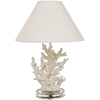 Glitzhome 19.29u0027u0027H Coral Novelty Table Lamp  Farmhouse Marine Design With  White T/C Shade Neutral Lampshade U0026 Soft,Ambient Lighting Perfect For  Living Room, ...