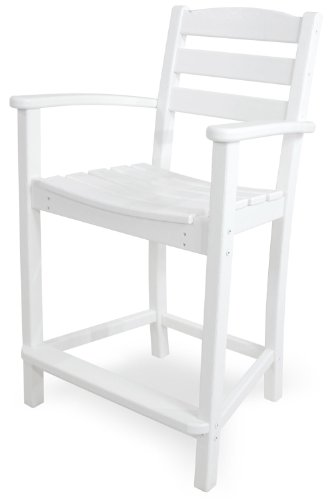 POLYWOOD TD201WH La Casa Café Counter Arm Chair, White (Garden Plastic That Wood Looks Like Furniture)