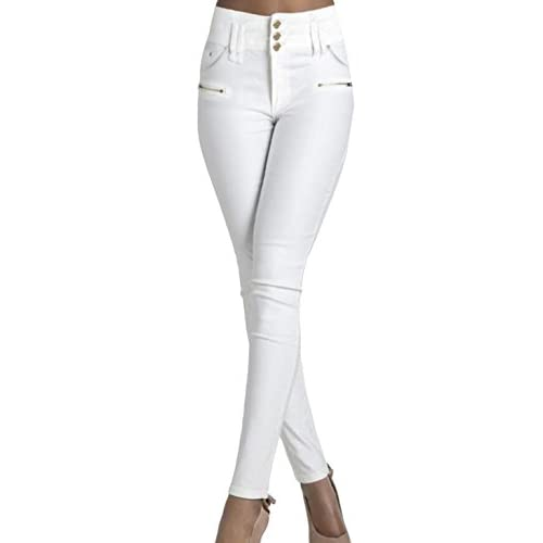 Generic Womens White Faux Leather High Waisted Leggings