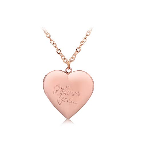 WLLAY Vintage I Love You Love Heart Photo Frame Memory Locket Pendant Necklace for Lover Jewelry Gift (Rose (Girls Bridesmaids Frame)