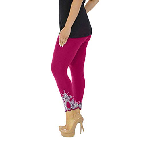 Mid Sock Trade Cuff - JOFOW Womens Leggings Solid Basic Lace Cuff Trousers Plus Size High Waist Stretch Elastic Skinny Long Sports Yoga Pants (S,Hot Pink