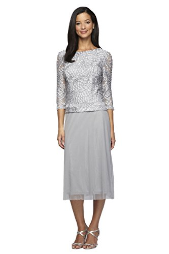 Alex Evenings Womens T-Length Mock Dress with Cowl Back 16P Platinum by Alex Evenings