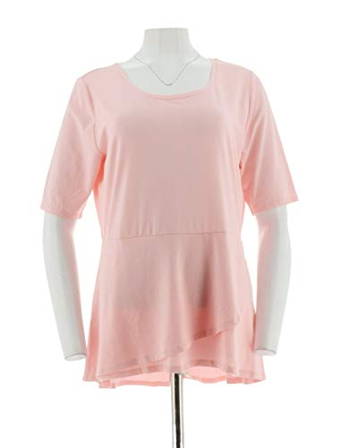 Isaac Mizrahi Elbow SLV Peplum Flounce Knit Top Pink Ice XL New A303962 from Isaac Mizrahi Live!