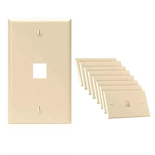 - CMPLE - 1 Port Keystone Wall Plate Single-Gang Wall Plate with Standard Size Keystone Jack Insert - Ivory - 10 Pack