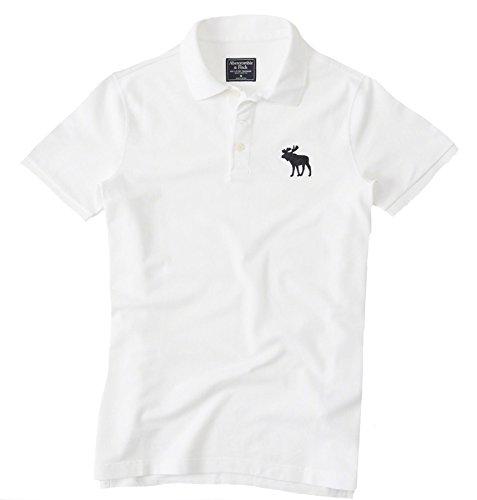 Abercrombie Mens Big Icon Weathered Polo  M  White