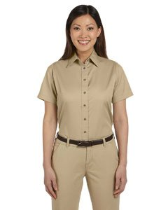 Harriton Womens Short-Sleeve Twill Shirt with Stain-Release (M500SW) -STONE -L (Womens Short Sleeve Twill Shirt)