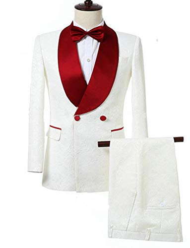 Mens White Double Breasted Dinner Blazer Suits Jacket with Designs Formal Tuxedo for Party New Year