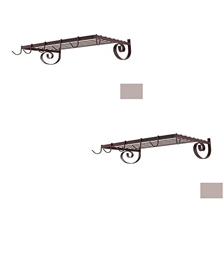 24-1/2-in x 13-in Stone Rectangle Pot Rack - Grace Collection Model - GMC-WR24-ST - Set of 2 Gift Bundle by Grace Collection