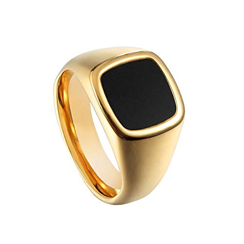 (Milo Bruno - Unisex Genuine Onyx Stainless Steel Signet Ring (Gold) - 7)