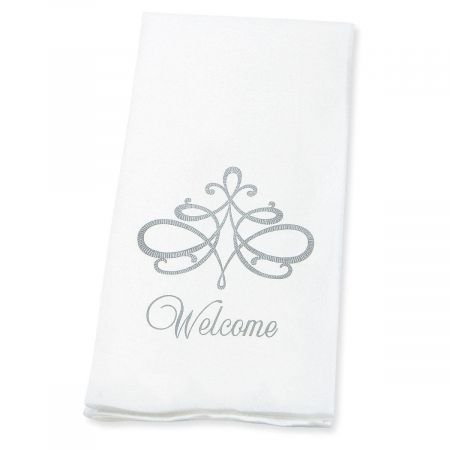 Welcome Silver Scroll Linen-Like Disposable Hand Towels (Set of 100)- 50% Cotton 50% Paper blend, 13'' by 17'' Open and 4 1/2'' by 8 1/2'' Closed, Wedding Party, Anniversary party, Holiday Party Supplies