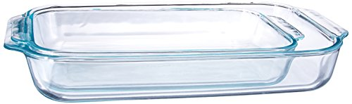 (Pyrex 1107101 Basics Clear Oblong Glass Baking Dishes, 2 Piece Value Plus Pack Set)