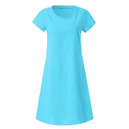 Mini Dress, Ladies Fashion Plus Size Floral Print Linen Dress Boho Short Sleeve Summer Beach Dress for Women (M, Blue) by Twinsmall (Image #1)