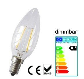 Lámparas 4 Watt LED Filament de vela transparente, luz blanca cálida, E14; 360°: Amazon.es: Iluminación