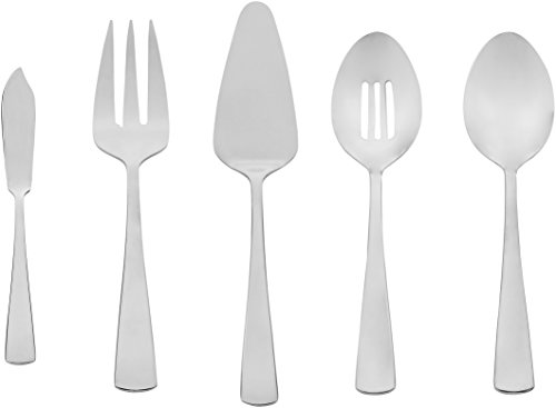 AmazonBasics 5-Piece Stainless Steel Serving Set with Square - Square Flatware Set