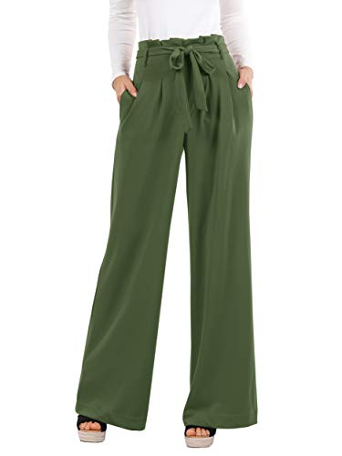 Lynwitkui Womens High Waist Palazzo Pants Casual Belted Wide Leg Lounge Trouser