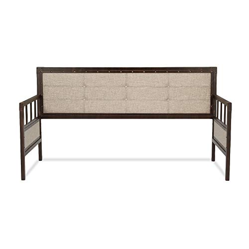 Leggett & Platt Gotham Metal Daybed with Latte Finished Button-Tufted Upholstery and Brass Studs, Brushed Copper, Twin