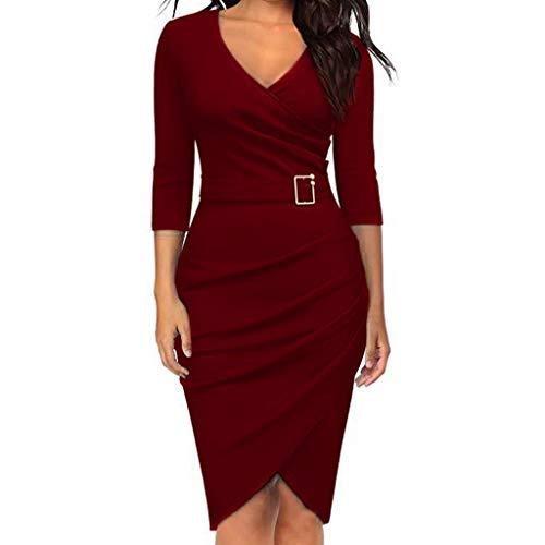 AxiBa-Women Long Sleeve T-Shirt Dress Pleated Swing Dress with Pockets(Wine,L) (Hip Monograms Mini)