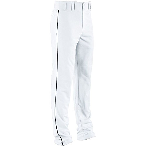High Five Piped Double Knit Baseball Pant-Youth,White/Navy,Medium