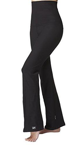 Control Bootcut Legging - TLC Sport Tummy Control Slimming Shaping High Waist Yoga Bootcut Bootleg Pants Black Long-M