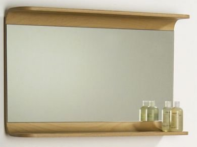 Whitehaus AEM085N Rectangular Wall Mount Mirror with Wood Shelf, Natural/Birchwood ()