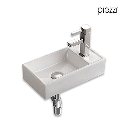 Man/éo Piezzi Lave-Mains Suspendu en c/éramique Blanche