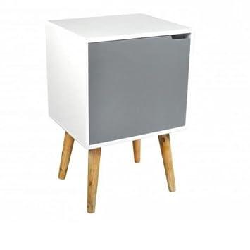 Meuble de chevet vintage 1 porte 1 étagère bambou MDF - table de ...