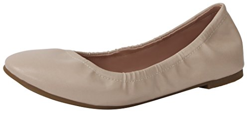 Cambridge Select Women's Closed Round Toe Packable Stretch Slip-On Ballet Flat (10 B(M) US, Nude - Stretch Flat Ballet