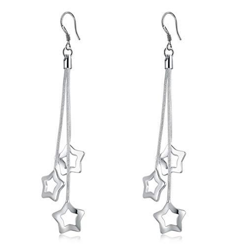 r Plated Long Tassel Star Dangle Drop Earrings For Women Girls ()