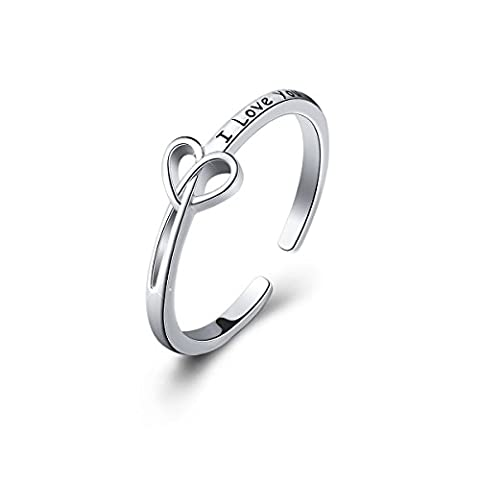 S925 Sterling Silver I Love You Irish Celtic Love Rings for Women, (7# Open Ring) - Celtic Love Symbol