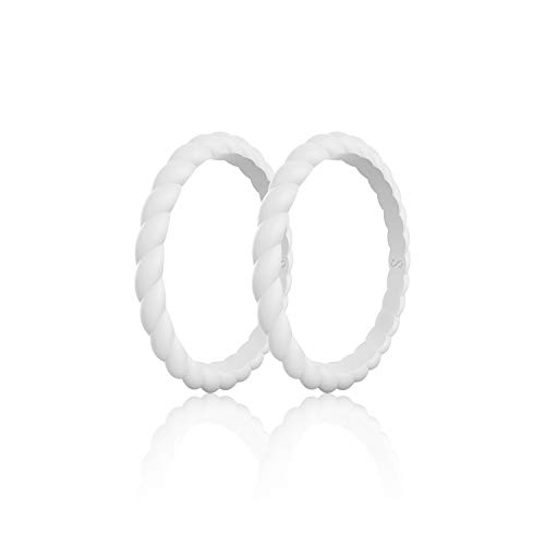 SANXIULY Womens Functional Silicone Ring&Rubber Wedding Bands for Workout and Sports Width 3mm Pack of 2 Color White Size 8 (Diamond Hammered Wedding Band)