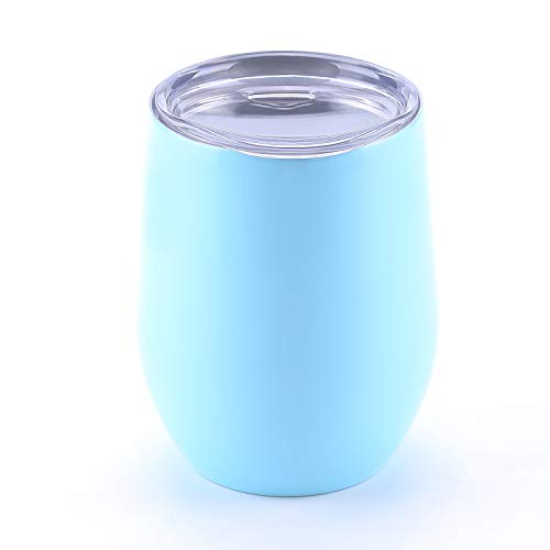 WBRWP 12oz wine tumbler with lid : insulated food grade stainless steel stemless-Light Blue