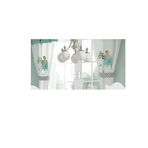 Green Elephant Crib Bedding Accessory - Window Curtain by Blancho