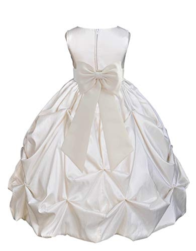 Ivory Satin Taffeta Pick-Up Bubble Junior Flower Girl Dress Novelty Gown 301T -