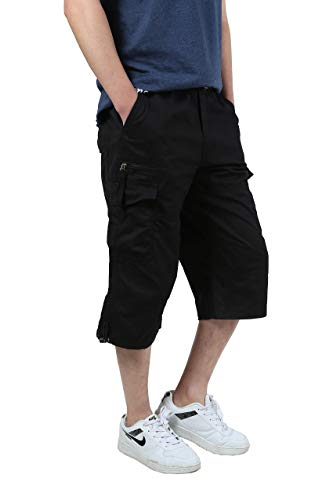 Ivnfout Men's Camping Shorts Cargo Baggy Shorts Loose Fit Army Outdoor Camping Summer Shorts(1219Black-L)