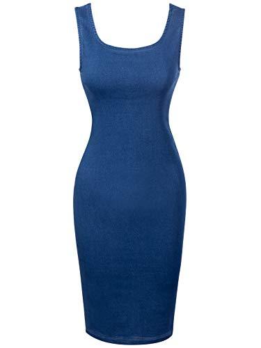 Design by Olivia Women's Sleeveless Basic Stretchable Denim Midi Dress Medium Denim L