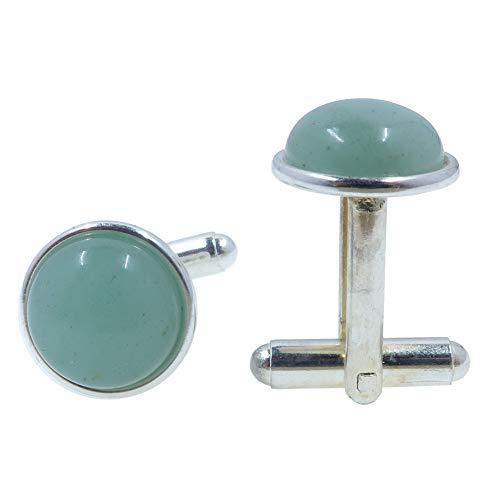 SatinCrystals Aventurine Green Cufflinks 12mm Boutique Gemstone Polished Circle Metal Accessories B01 (Silver-Plated-Brass)